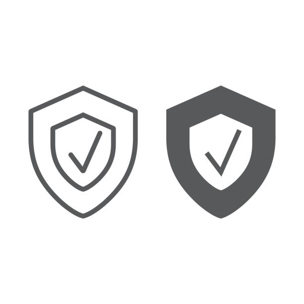 ilustrações de stock, clip art, desenhos animados e ícones de security status line and glyph icon, safety and protect, shield sign, vector graphics, a linear pattern on a white background. - durabilidade