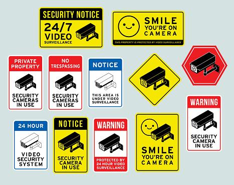 Security Surveillance Camera Warning Signs Vector Illustration