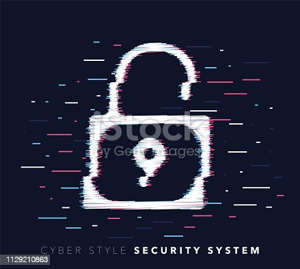Glitch effect vector icon illustration of security system with abstract background.