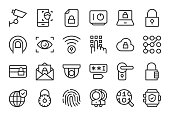Security System Icons Light Line Series Vector EPS File.