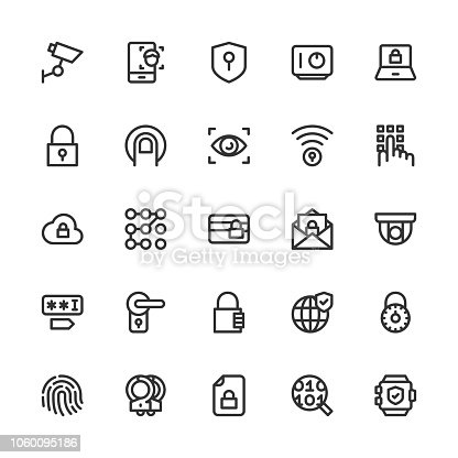 Security System Icons Line Series Vector EPS File.