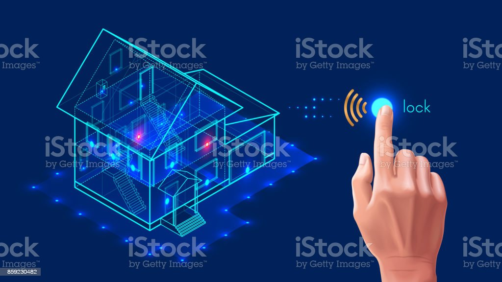 Security system of smart home. 3d house plan x-ray. vector art illustration