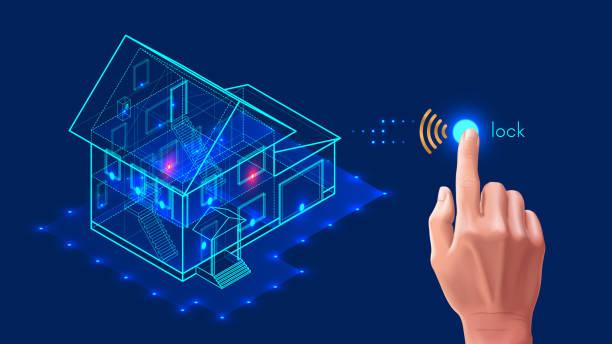 stockillustraties, clipart, cartoons en iconen met beveiligingssysteem van slimme huis. 3d huis plan x-ray. - alarm, home,