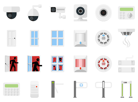 Security system set icons of video cameras, detectors, turnstiles, access control. Vector stock illustration