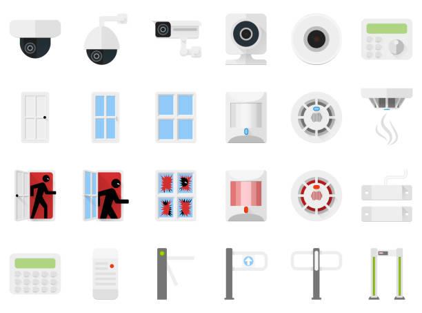 illustrazioni stock, clip art, cartoni animati e icone di tendenza di sistema di sicurezza impostare le icone di videocamere, rilevatori, tornelli, controllo degli accessi. illustrazione di vector stock - sensore