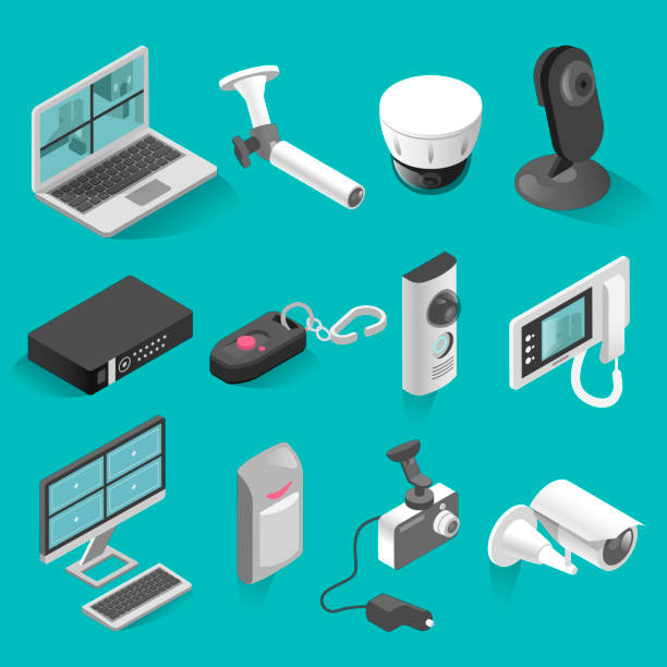 stockillustraties, clipart, cartoons en iconen met isometrische vectorelementen beveiliging systeem instellen - alarm, home,