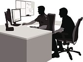 A vector silhouette illustration of two male security guards obversing computer monitors.