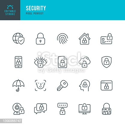 Security - thin line vector icon set. 20 linear icon. Pixel perfect. Editable stroke. The set contains icons: Security, Fingerprint, Face Identification, Key, Message Protect, Cloud Protection, Webcam Blocked, Computer Blocking, Identification, Internet Security.