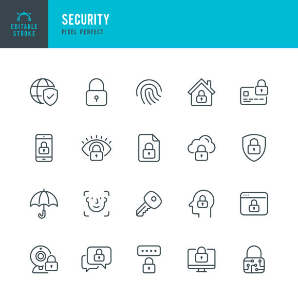 Security - thin line vector icon set. Pixel perfect. Editable stroke. The set contains icons Security, Fingerprint, Face Identification, Key, Message Protect. Security - thin line vector icon set. 20 linear icon. Pixel perfect. Editable stroke. The set contains icons: Security, Fingerprint, Face Identification, Key, Message Protect, Cloud Protection, Webcam Blocked, Computer Blocking, Identification, Internet Security. locking stock illustrations