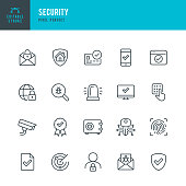 Security - thin line vector icon set. 20 linear icon. Pixel perfect. Editable stroke. The set contains icons: Security, Fingerprint, Digital Key, Alarm, Spam, Security Camera, Scanning, Home Security, Internet Security.