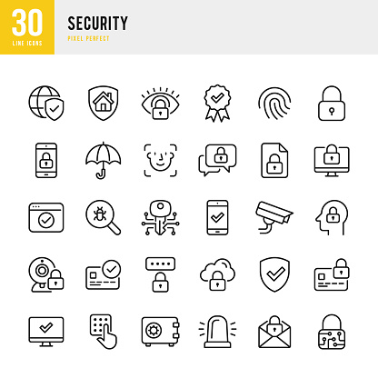 Security - thin line vector icon set. Pixel perfect. The set contains icons: Security, Fingerprint, Biometrics, Digital Key, Facial Recognition Technology, Alarm, Spam, Security Camera, Scanning, Home Security, Certificate, Application Form, Internet Secu