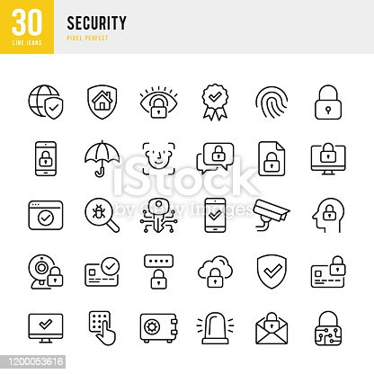 Security - thin line vector icon set. 30 linear icon. Pixel perfect. Outline stroke expanded. The set contains icons: Security, Fingerprint, Digital Key, Alarm, Spam, Security Camera, Scanning, Home Security, Application Form, Internet Security.
