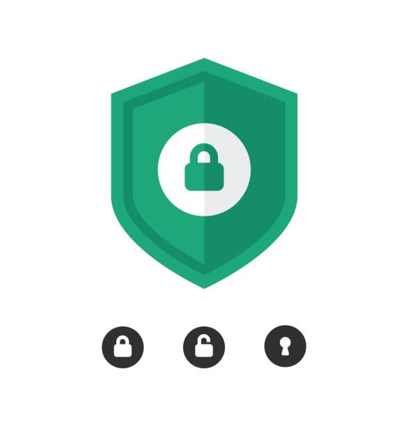 illustrazioni stock, clip art, cartoni animati e icone di tendenza di set di icone vettoriali di sicurezza. icona protezione. illustrazione vettoriale dello scudo. - protezione