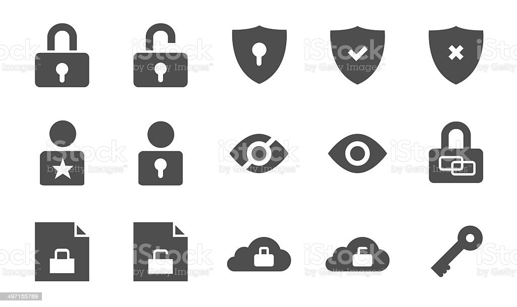 Security vector iconset vector art illustration