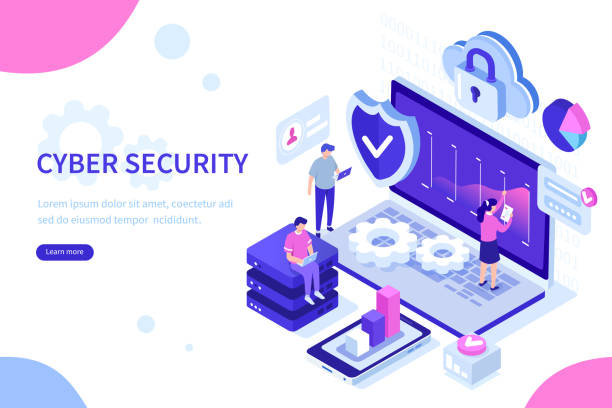 security Cyber security concept with characters. Can use for web banner, infographics, hero images. Flat isometric vector illustration isolated on white background. cybersecurity stock illustrations