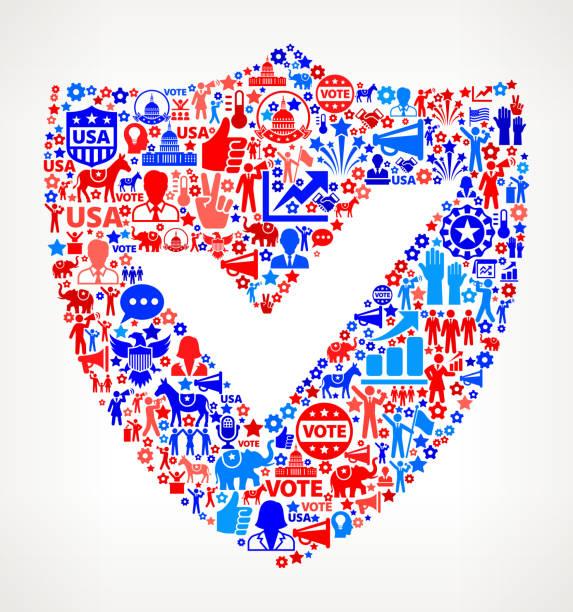 голосования и безопасности выборов сша отечественной значок рисунком - presidential debate stock illustrations