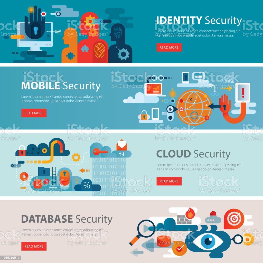 IT Security Web Banner Tamplates – Vektorgrafik