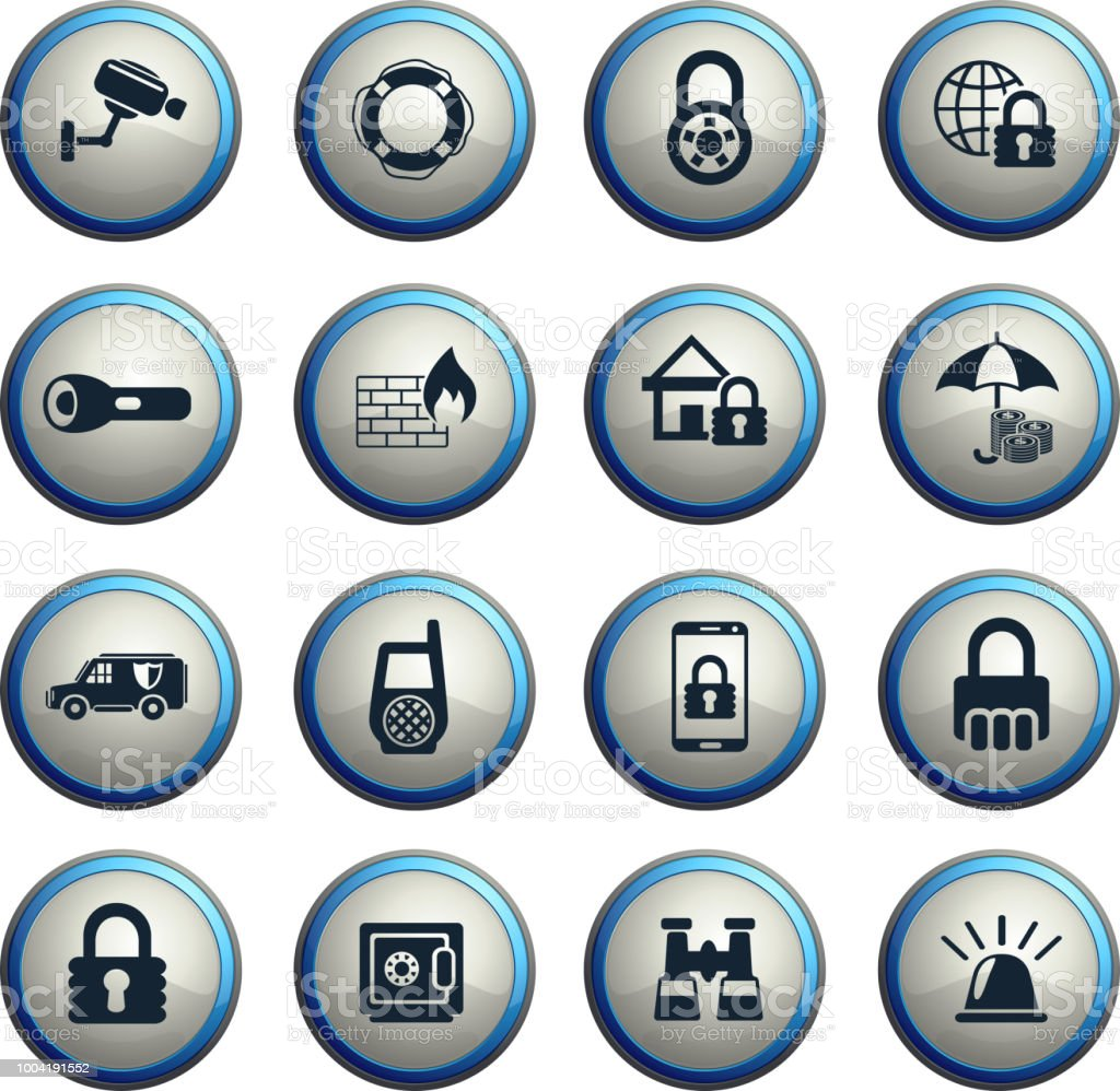 security web icons vector art illustration