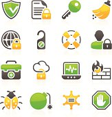 Set of 16 professional security icons for web applications, web presentation and more. File includes: vector EPS, PNG, JPG.
