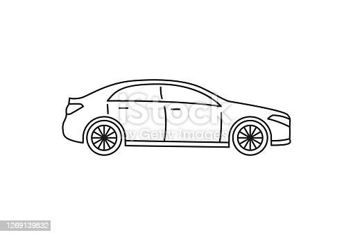 istock Sedan car icon. Black line web sign. Flat style vector illustration isolated on white background. 1269139832