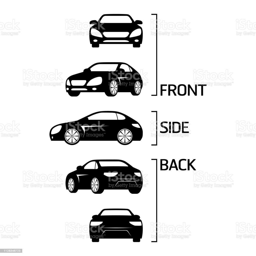 Sedan car icons Sedan car icons set vector eps10 Back stock vector