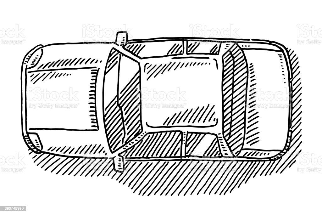 図面上からセダン車ビュー いたずら書きのベクターアート素材や画像を