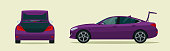Sedan car with open boot. Side and back view. Vector flat style illustration.
