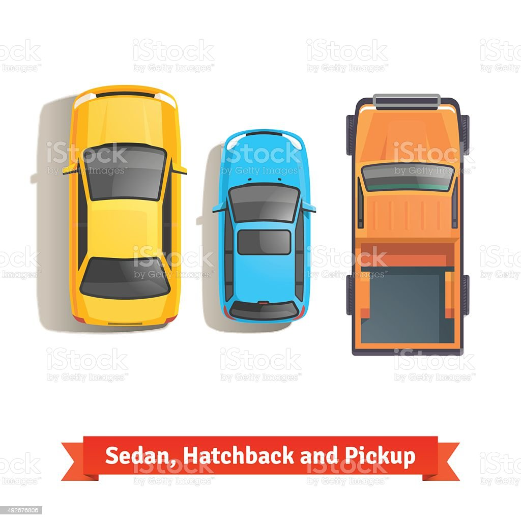 Sedan, hatchback cars and pickup truck top view vector art illustration