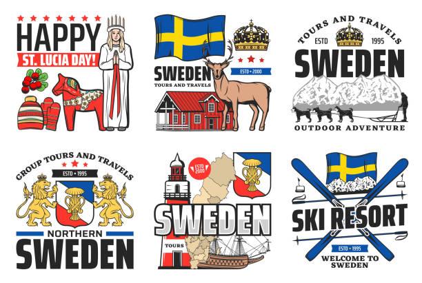 bildbanksillustrationer, clip art samt tecknat material och ikoner med seden ikoner, resesemestrar och svensk kultur - lucia