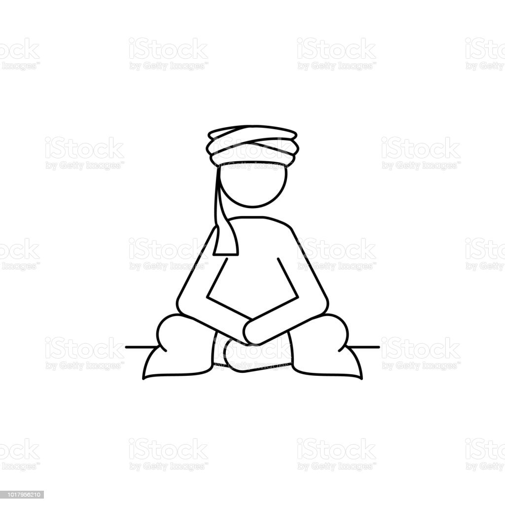 sedentary Arab icon. Element of Arab culture icon for mobile concept and web apps. Thin line  icon for website design and development, app development. Premium icon vector art illustration