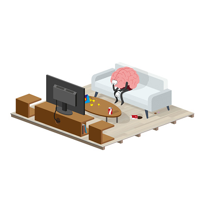 Sedentary, Brain exhausted without the desire to do physical exercises, tired, is doing nothing in front of the television sitting on the couch of the room