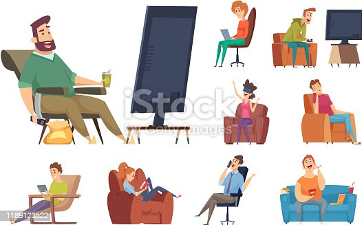 Sedentary characters. Lazy lifestyle people sitting reading chatting in smartphone watching tv unhealthy person with devices vector. Illustration lazy on sofa, relaxation person, cartoon human