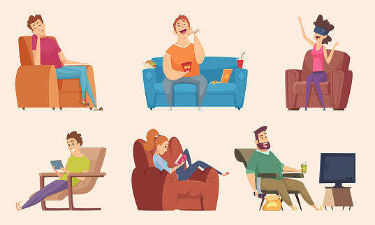 sedentary lifestyle stock illustrations