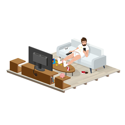 Sedentary, Sitting unwilling to do physical exercises, tired, is doing nothing in front of the TV on the couch of the room stirring the smartphone
