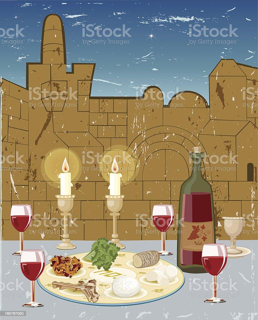 Seder Passover vector art illustration