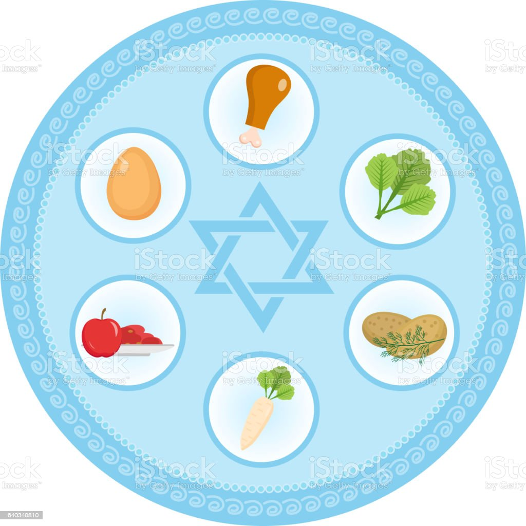 Seder Plate Of Food Flat Style Jewish Holiday Passover Isolate Stock