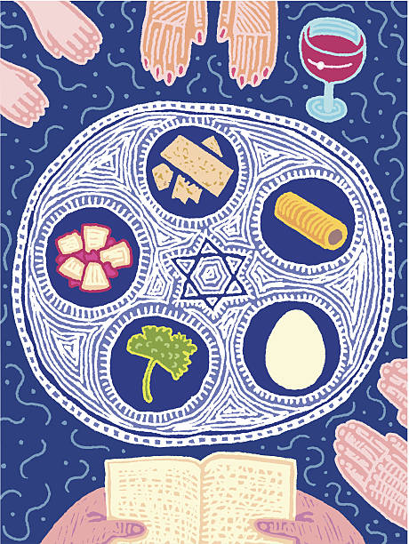 seder - passover stock illustrations, clip art, cartoons, & icons
