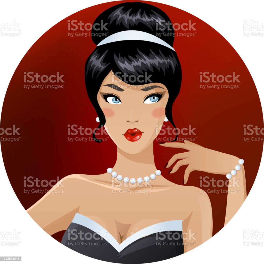 Seductive brunette vector art illustration