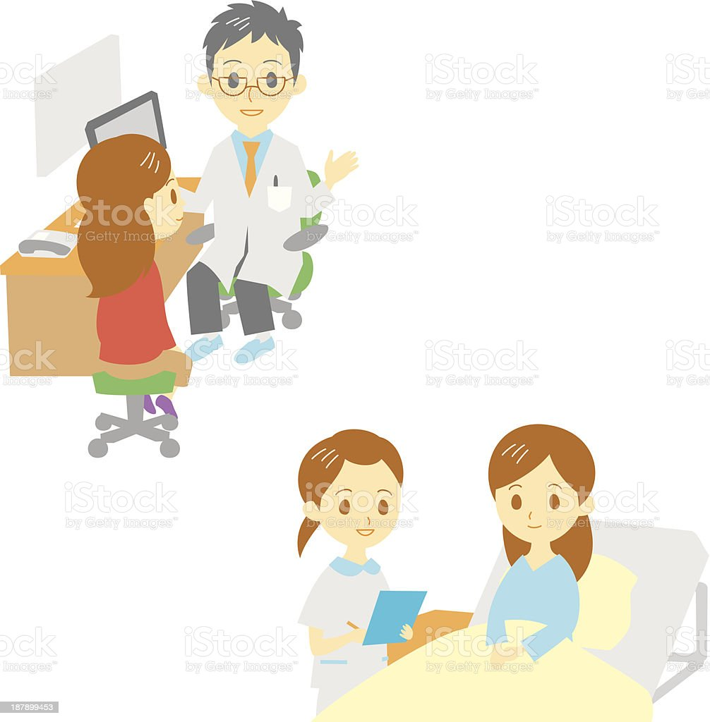 see a doctor and in hospital, woman royalty-free see a doctor and in hospital woman stock vector art & more images of adult
