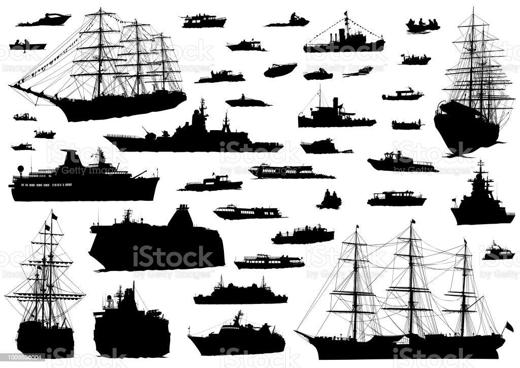 See boat on white vector art illustration