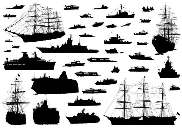 see boat on white - statek stock illustrations