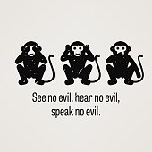 A motivational and inspirational poster representing the proverb sayings, See No Evil, Hear No Evil, and Speak No Evil with simple monkey pictogram.