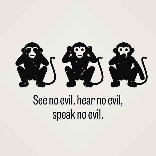 see no evil, hear no evil, speak no evil - monkey stock illustrations