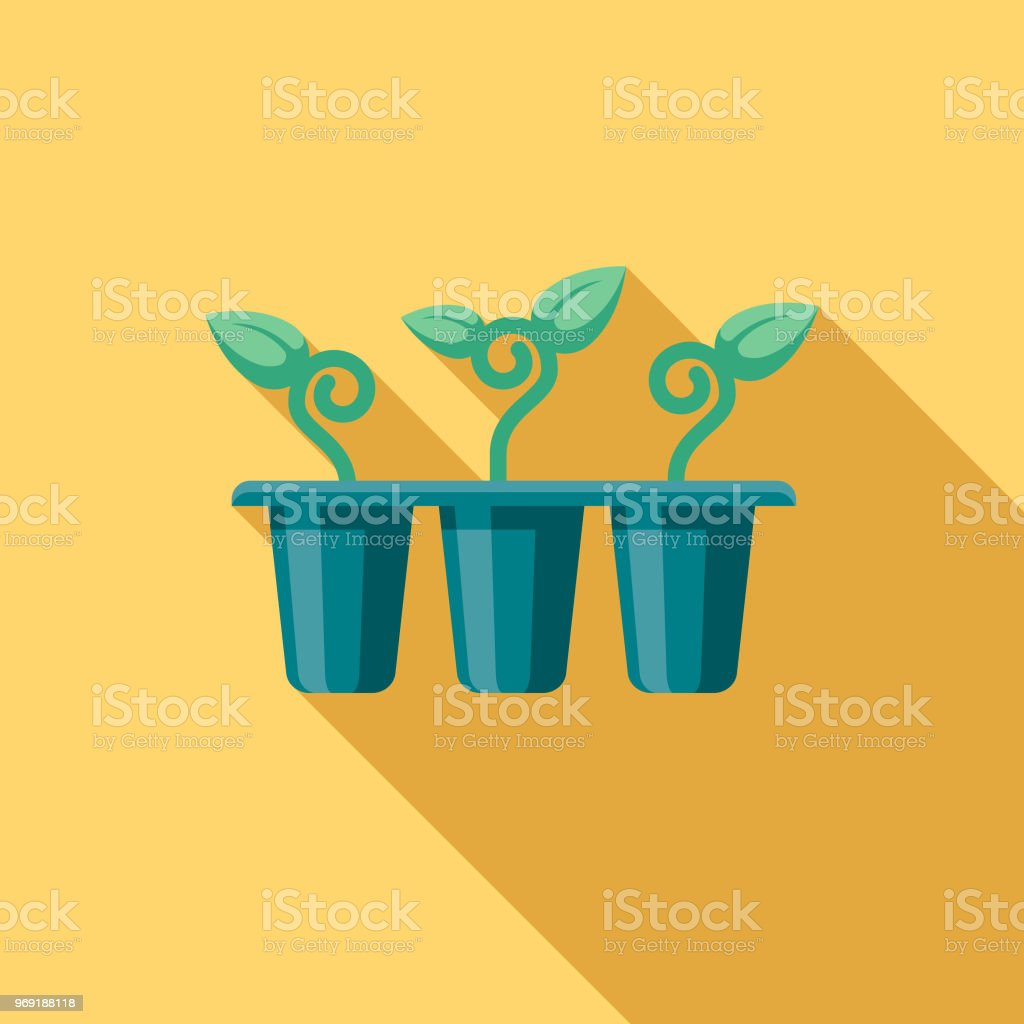 Seedlings Flat Design Springtime Icon vector art illustration