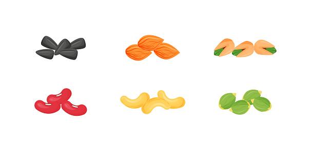 Seeds, nuts, beans cartoon vector illustrations set