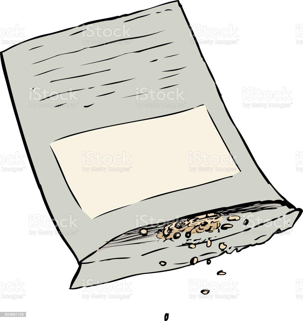 Seeds spilling out of packet vector art illustration
