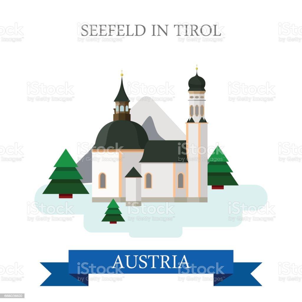 Seefeld in Tirol Village in Innsbruck Land Tyrol Austria. Flat cartoon style historic sight showplace attraction web vector illustration. World countries cities vacation travel sightseeing collection. vector art illustration