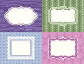 Four different labels, each on their own patterned background. Pattern continues behind each label. Items are grouped for easy separation and color change. Perfect for gift tags, labels, or invitations.