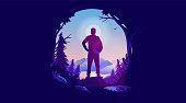 Man in nature who wants to live life. Enjoy nature, hiking and wanderlust concept. Vector illustration.