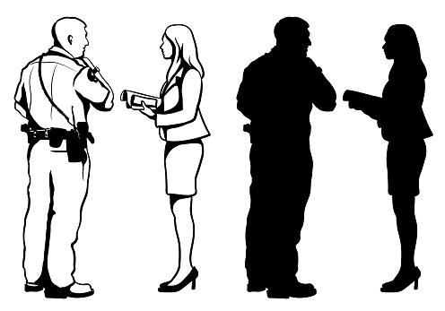 Seeking Police Intervention Silhouette